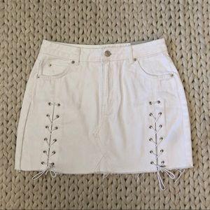 TopShop White Lace Front Denim Mini Skirt